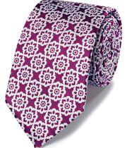 Magenta floral classic tie