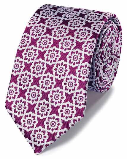 Cravate classique magenta à fleurs