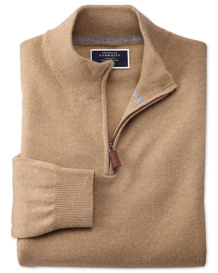 Tan zip neck pure cashmere jumper