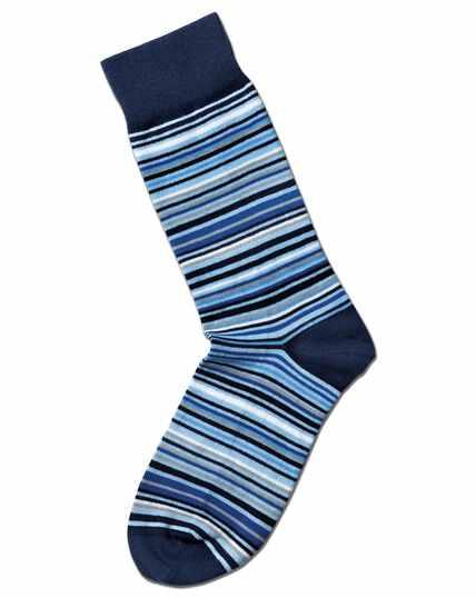 Blue and white multi stripe socks