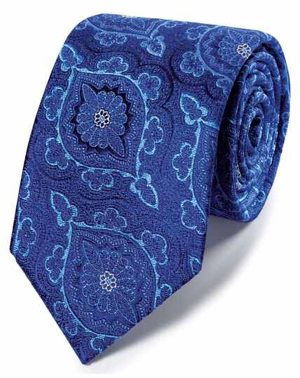 Navy floral brocade English luxury tie