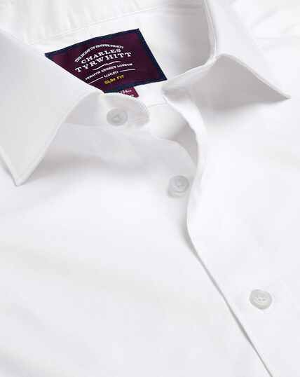 Semi-Spread Collar Luxury Twill Shirt  - White