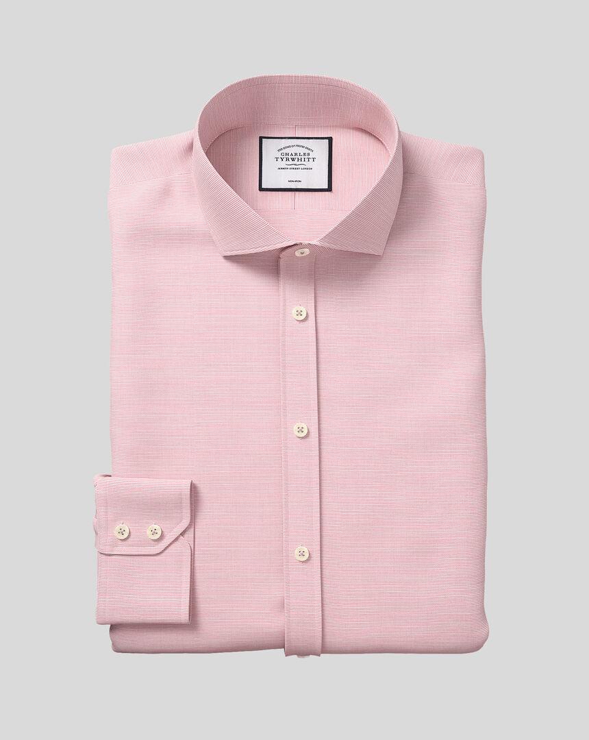 Bügelfreies Hemd aus Slub-Baumwolle mit Haifischkragen - Rosa