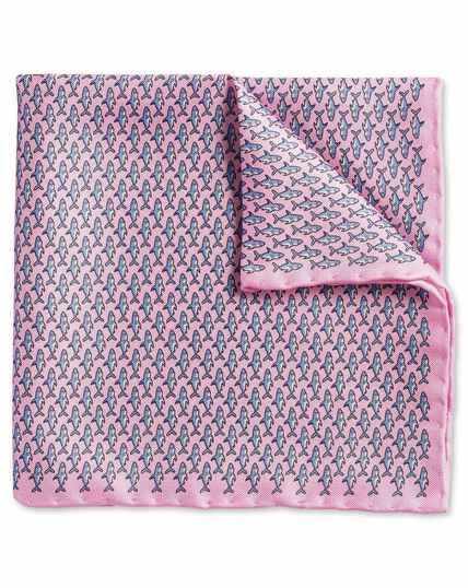 Light pink shark print pocket square