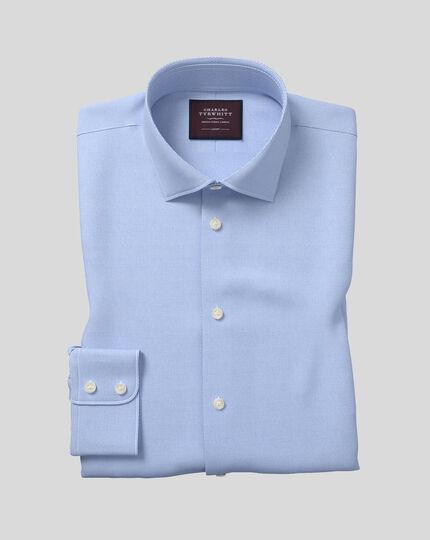 Hemd aus italienischem Drehergewebe mit Semi-Haifischkragen - Blau