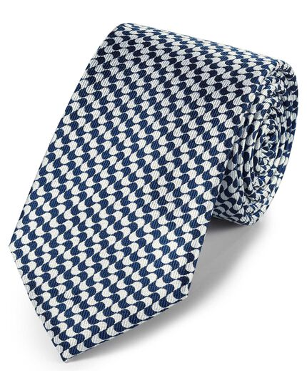 Navy blue and white silk geometric classic tie