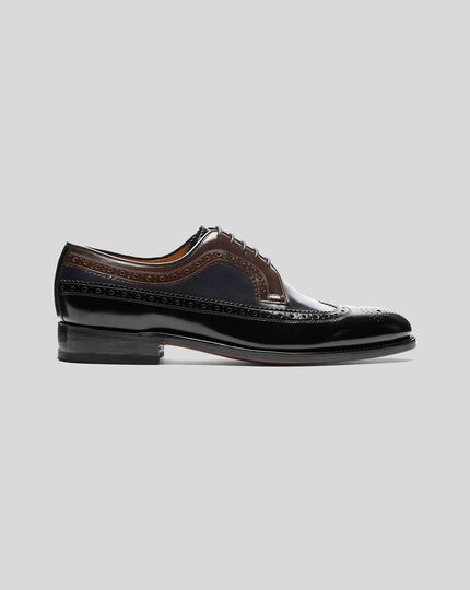 High Shine Goodyear Welted Derby Wing Tip Brogue Shoe - Black & Blue