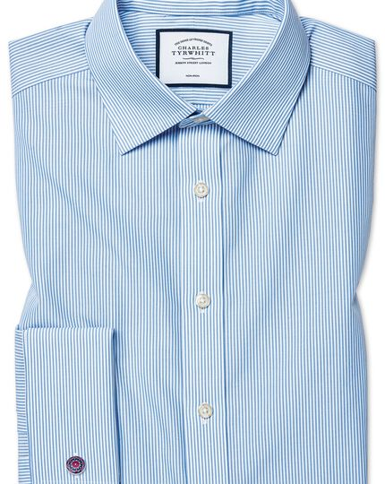 Bügelfreies Slim Fit Hemd in Himmelblau mit Bengal-Streifen