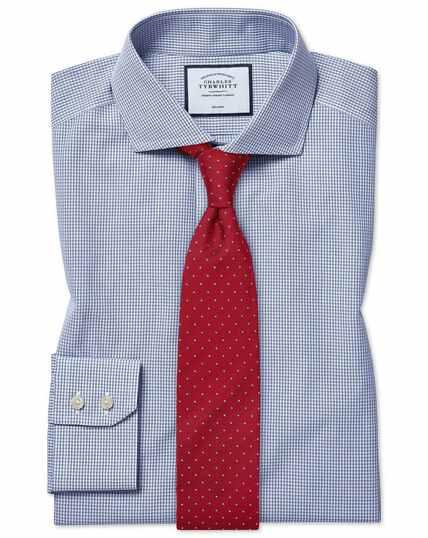 Non-Iron Tyrwhitt Cool Poplin Check Shirt - Blue