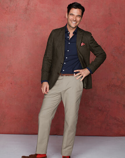 Slim fit olive Italian linen jacket