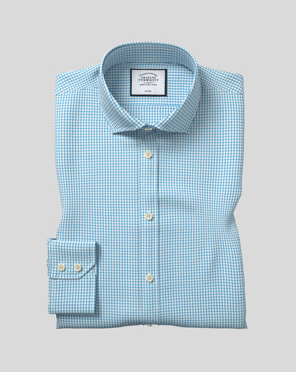 Cutaway Collar Non-Iron Cotton Stretch Check Shirt - Teal
