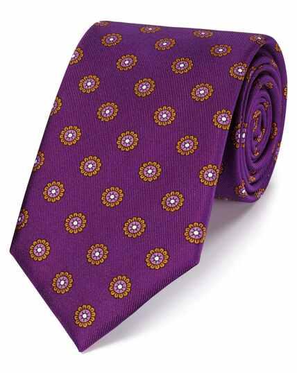 Klassische Krawatte aus Seide mit Muster in Violett