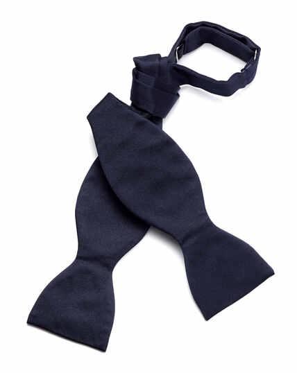 Navy silk satin royal self-tie bow tie