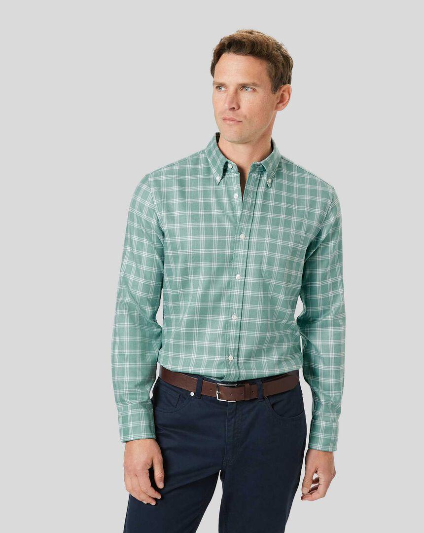Bügelfreies Twill Hemd mit Button-down-Kragen und Karos - Aquablau & Weiß