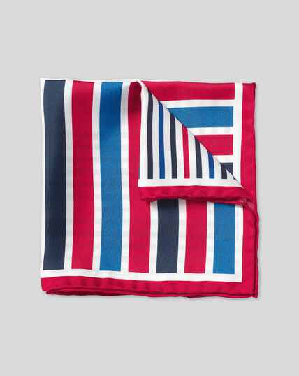 Stripe Quarter Pocket Square - Red & Blue