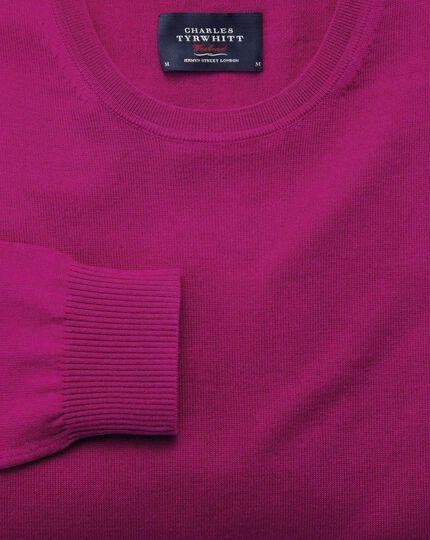 Fuchsia merino crew neck jumper