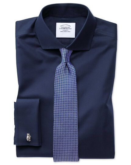 Super slim fit navy non-iron twill shirt