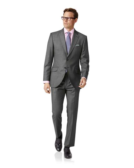 Light grey slim fit wool with cashmere Italian suit