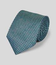Silk Melange Puppytooth Classic Tie - Green