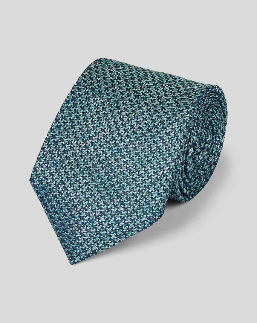 Krawatte aus Seide mit Hahnentrittmuster und Melangeeffekt - Grün