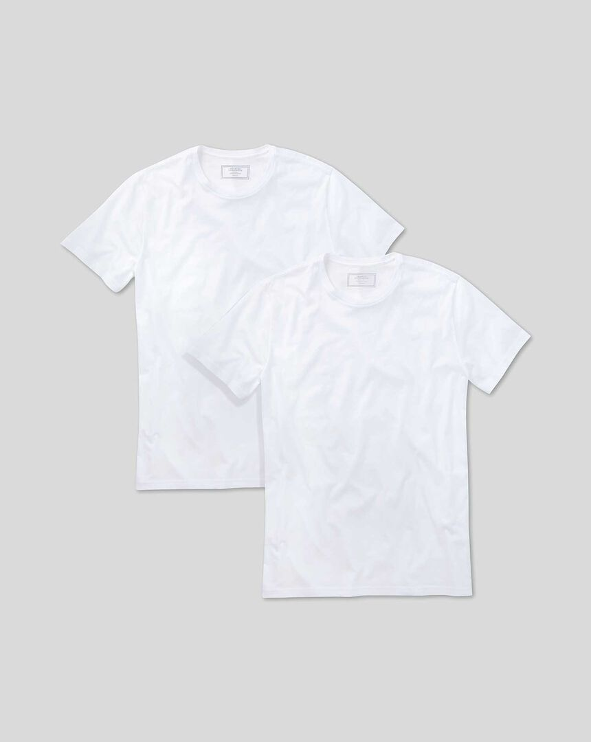2 Pack Crew Neck Undershirt T-shirt - White