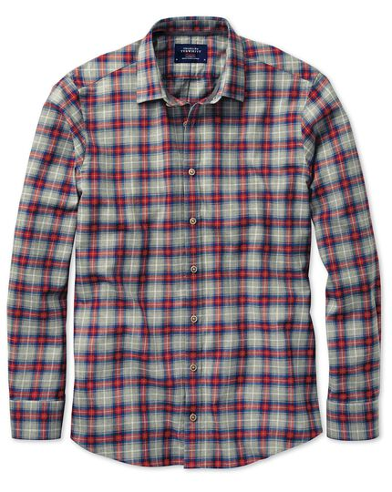 Classic fit red and grey check heather shirt