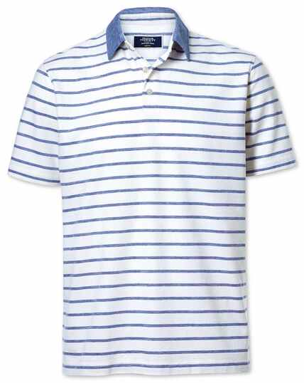 Navy and white stripe cotton linen polo