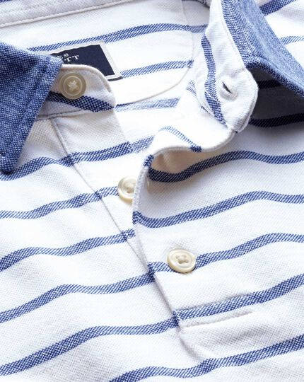 Navy and white stripe cotton linen polo