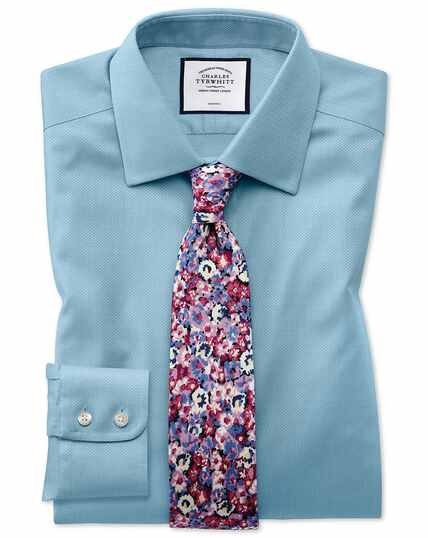 Non-Iron Triangle Weave Shirt - Teal