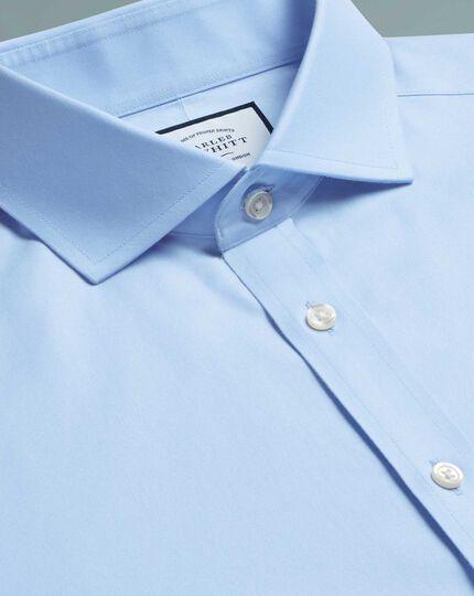 Extra slim fit spread collar non-iron twill sky blue shirt