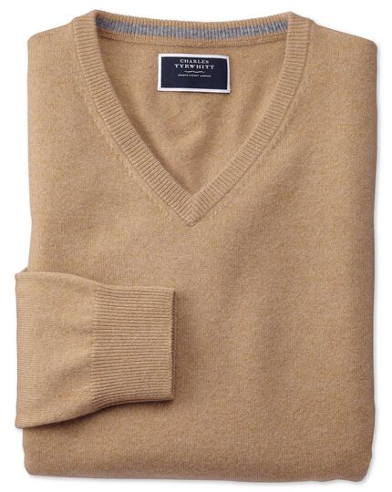Tan v-neck pure cashmere jumper