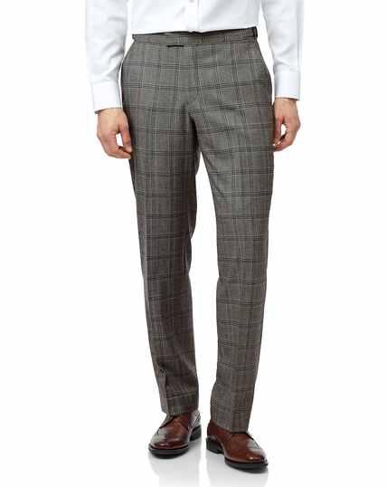 Britische Classic Fit Luxus-Anzughose mit Prince-of-Wales-Karos in Grau