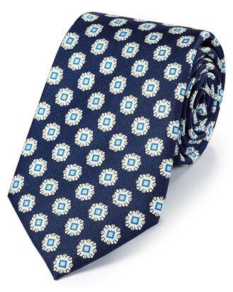 Cravate classique bleu marine et bleue en soie avec imprimé géométrique