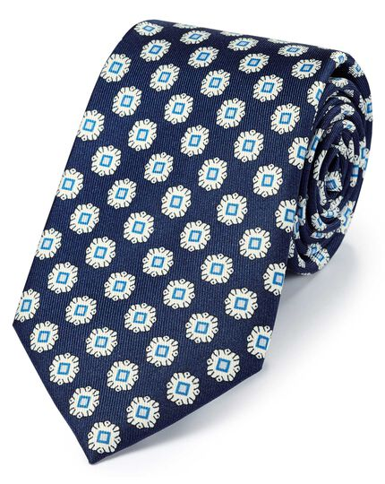 Navy and blue silk printed geometric classic tie