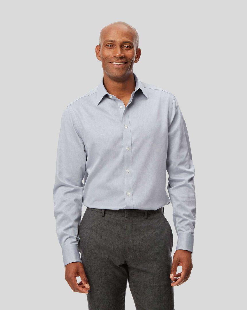 Bügelfreies Hemd mit Kent-Kragen und Micro-Diamond-Muster - Grau