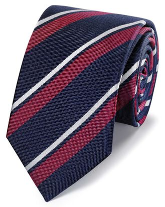 Cravate classique bleu marine et rouge en soie à rayures