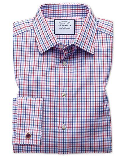 Slim fit poplin multi red check shirt
