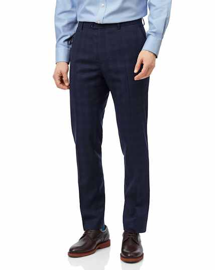 Midnight blue check slim fit suit trouser