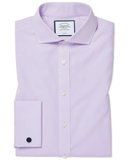 Slim fit non-iron cutaway collar poplin lilac shirt