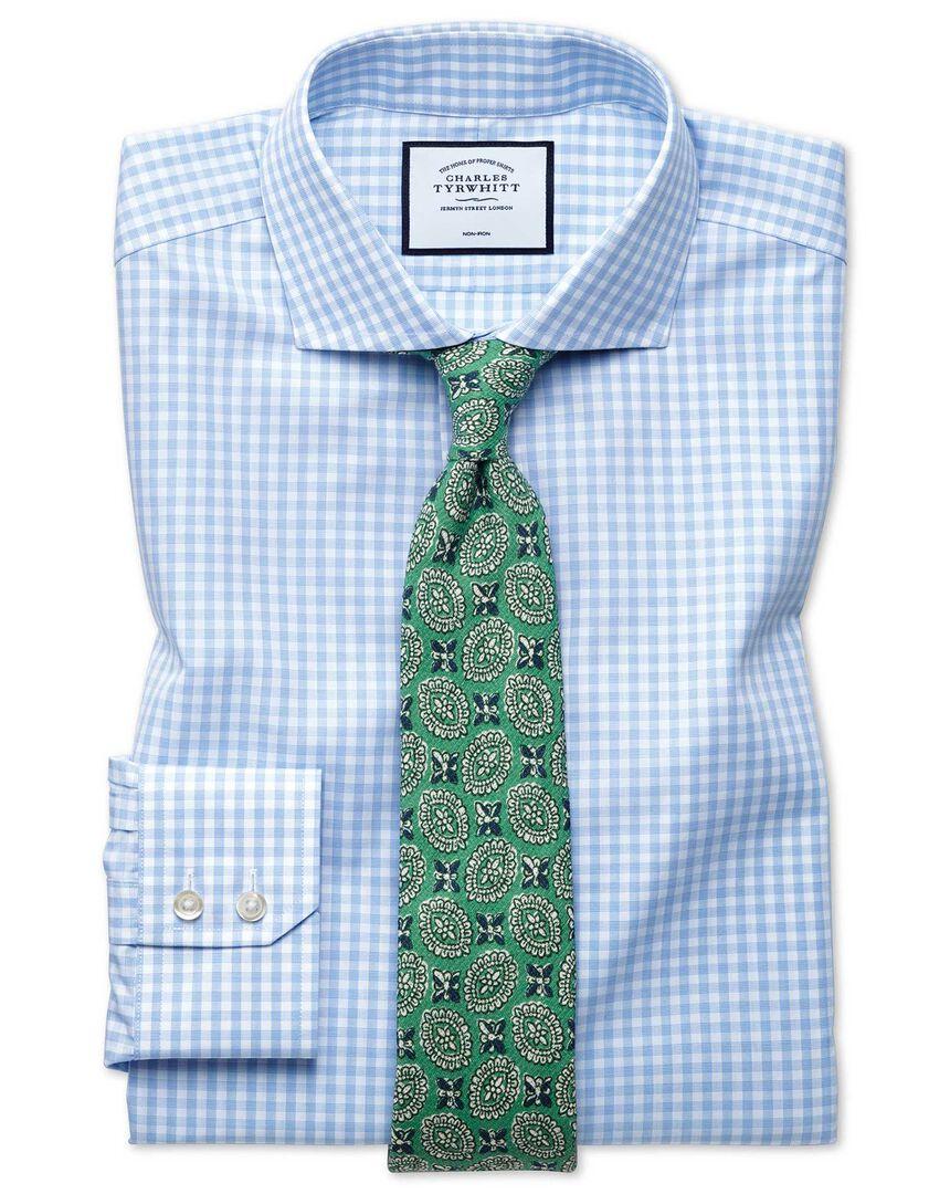 Non-Iron Check Tyrwhitt Cool Shirt - Sky Blue