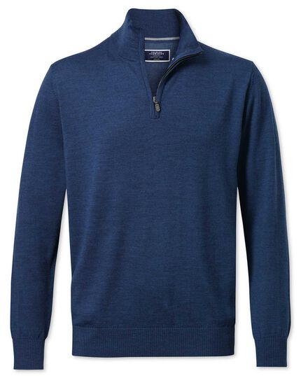 Mid blue merino wool zip neck jumper