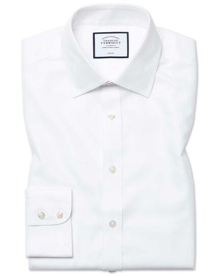 Extra slim fit non-iron royal Panama white shirt