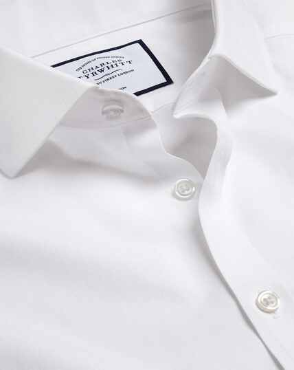 Cutaway Collar Non-Iron Tyrwhitt Cool Poplin Shirt - White