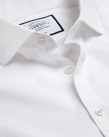 Spread Collar Non-Iron Tyrwhitt Cool Poplin Shirt - White