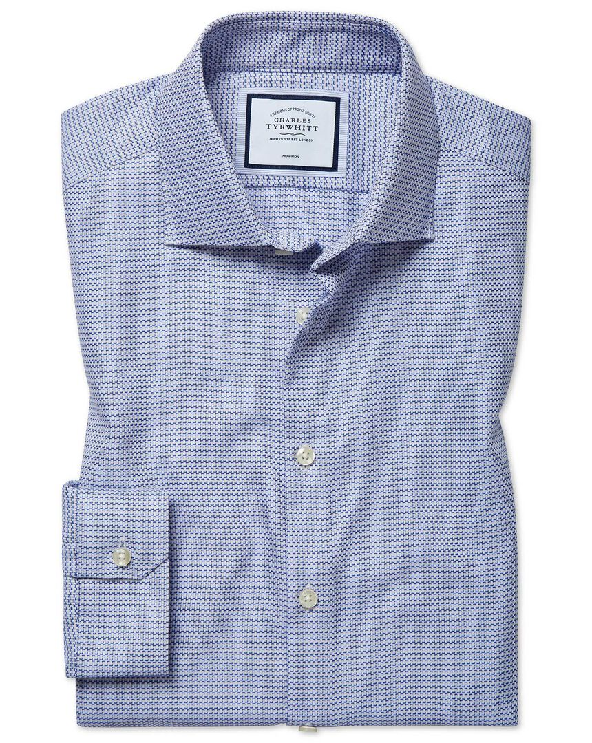 Super slim fit non-iron natural stretch textures blue shirt