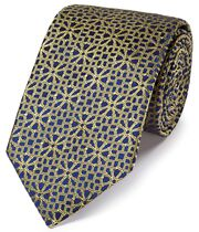 Gold silk geometirc English luxury tie