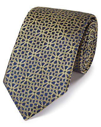 Cravate de luxe or en soie anglaise à imprimé géométrique