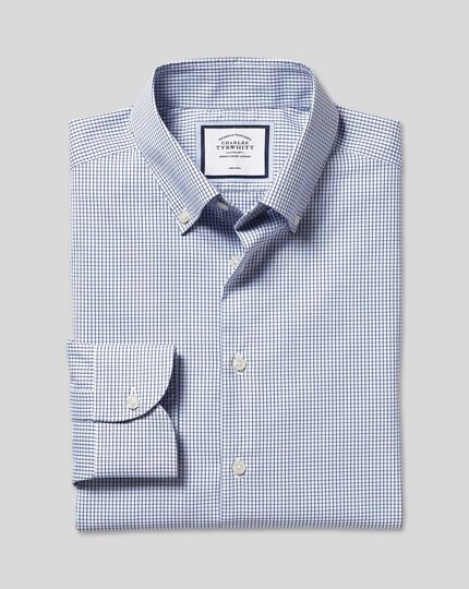 Button-Down Collar Non-Iron Check Shirt - Royal Blue