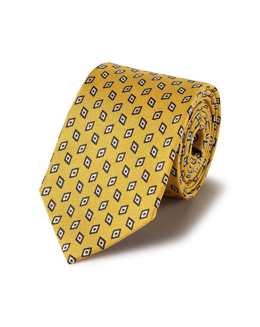 Krawatte mit geometrischem Diamantmuster - Gold & Marineblau