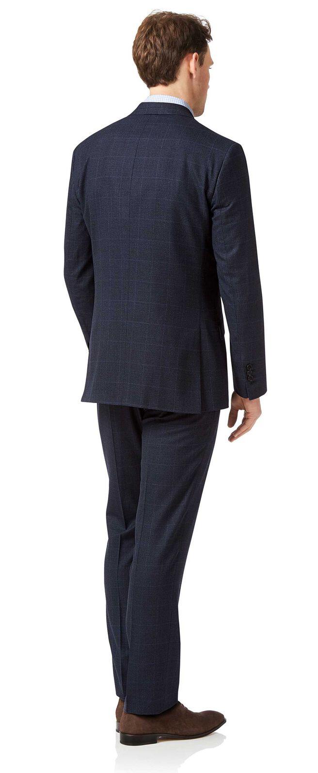 Costume business bleu jaspé slim fit à carreaux
